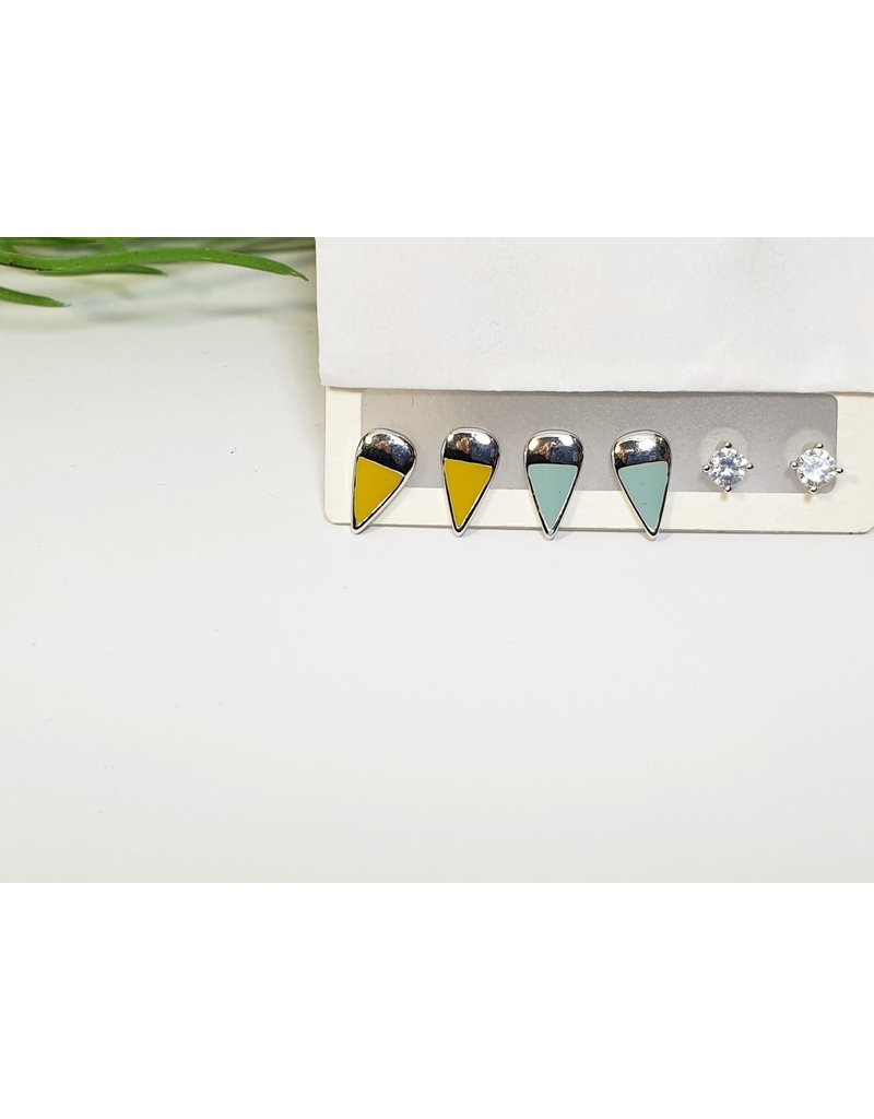 EMA0144 - Silver Turq/Yellow  Multi-Pack Earring