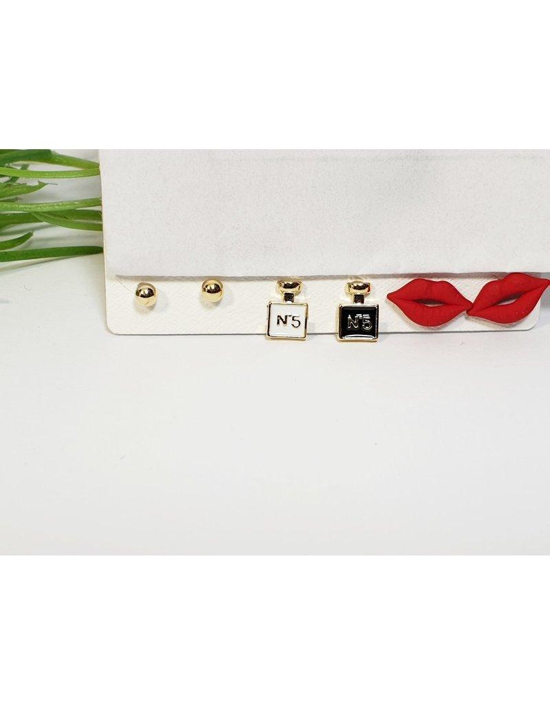 EMA0148 - Gold Red Lips  Multi-Pack Earring