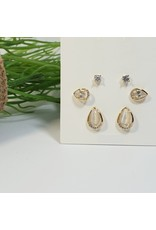 EMA0149 - Gold Ivory Ovals  Multi-Pack Earring