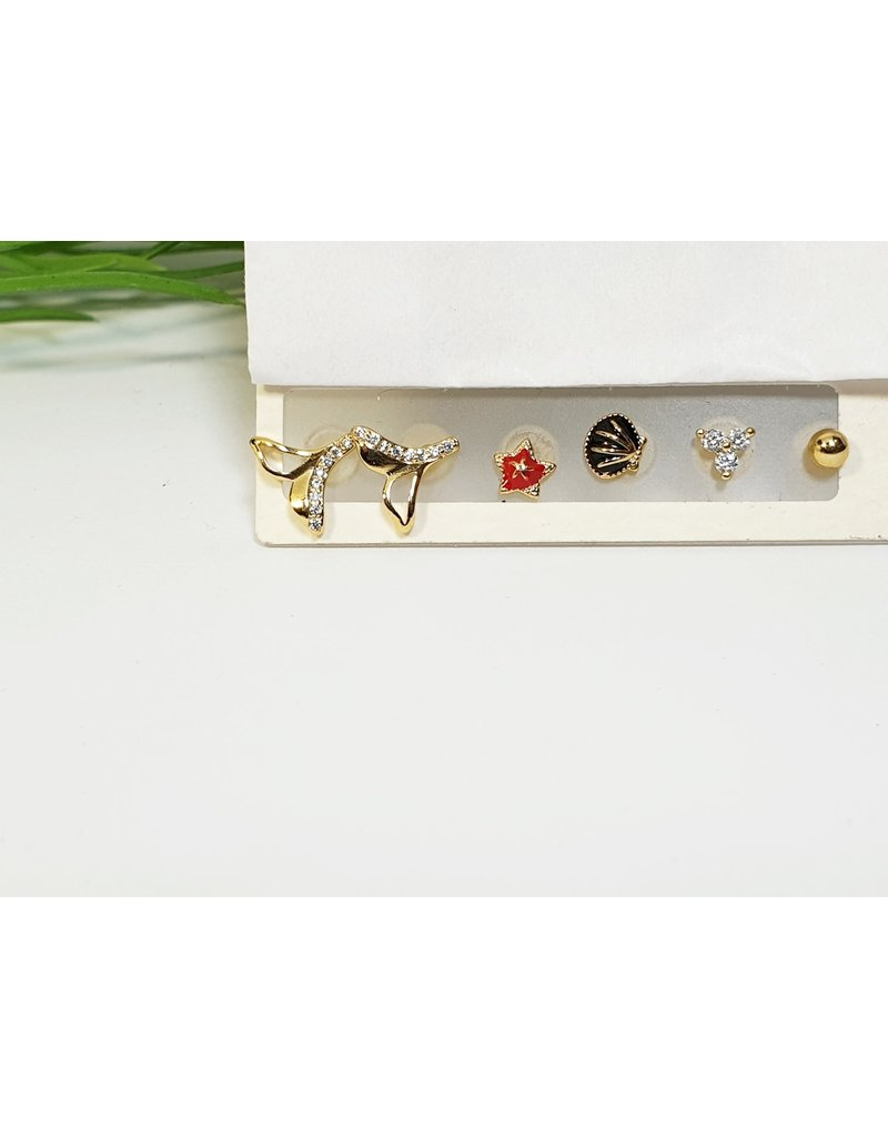 EMA0159 - Gold Red/Black  Multi-Pack Earring