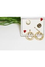 EMA0161 -  Gold, Red Heart  Multi-Pack Earring