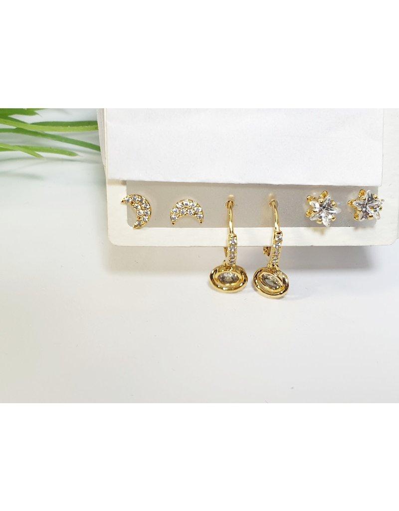 EMA0168 - Gold Hoops  Multi-Pack Earring