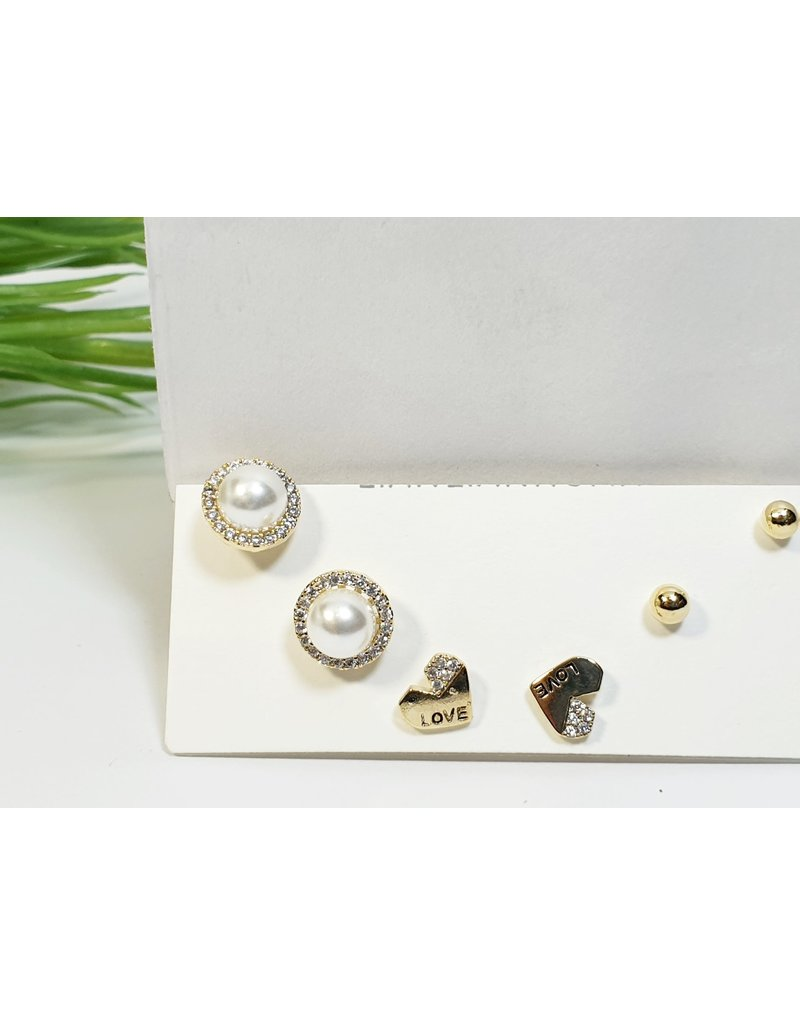 EMA0173 - Gold Pearls  Multi-Pack Earring