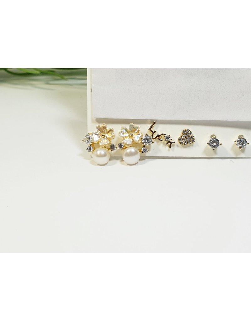 EMA0182 - Gold Heart,Luck, Flower, Pearl  Multi-Pack Earring