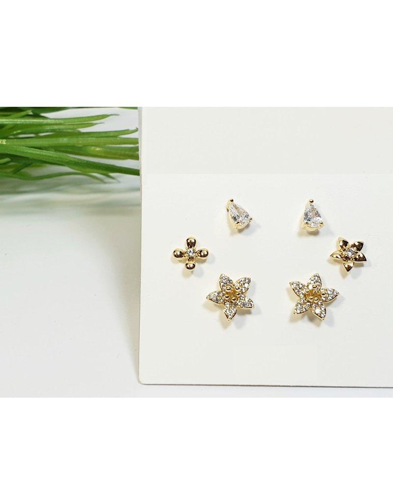EMA0188 - Gold Flower  Multi-Pack Earring