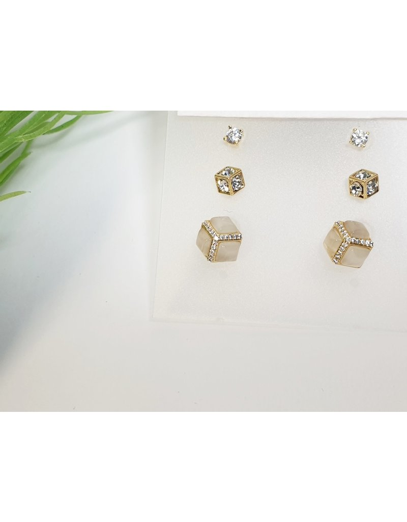 EMA0192 - Gold Cubes  Multi-Pack Earring