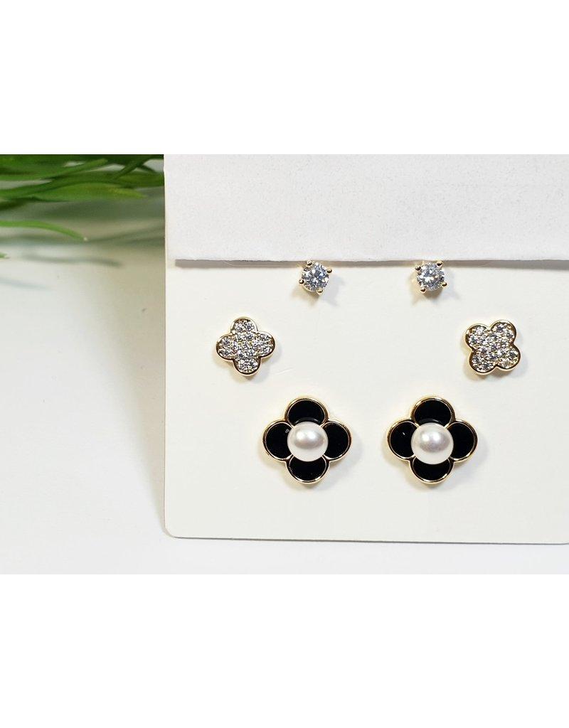 EMA0197 - Gold Black Flower  Multi-Pack Earring