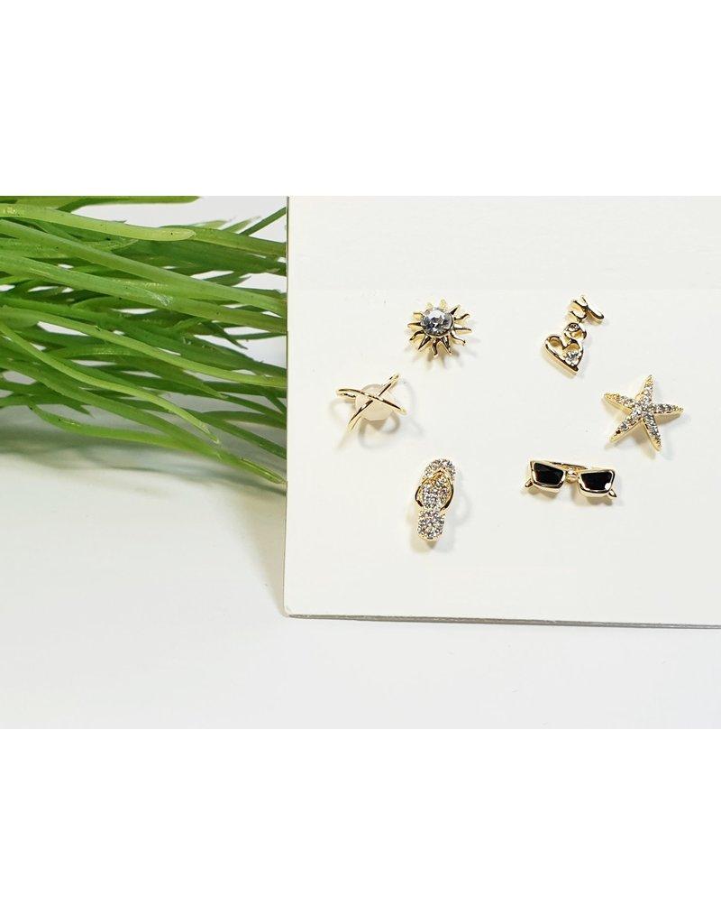 EMA0206 - Gold Sunglasses, Sandal, Star  Multi-Pack Earring