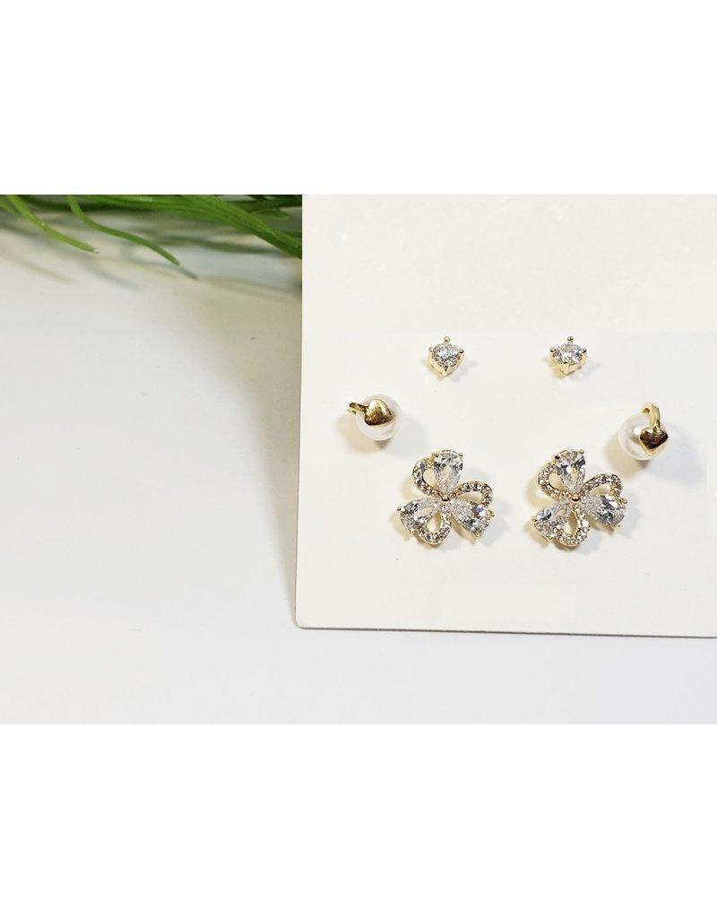 EMA0209 - Gold, Flower, Pearl  Multi-Pack Earring