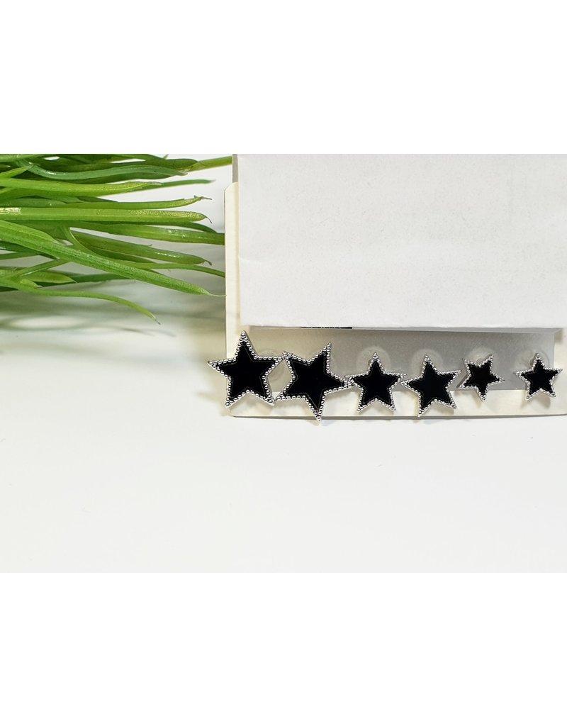 EMA0208 - Silver Black, Star  Multi-Pack Earring