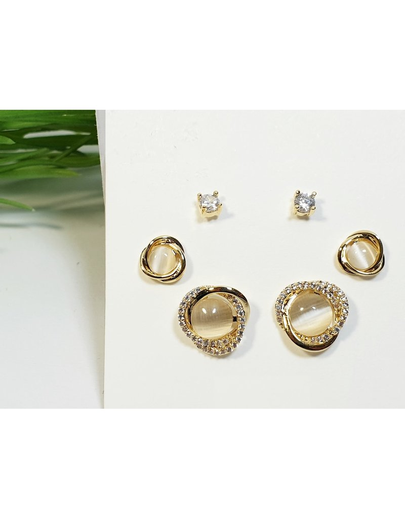 EMA0211 - Gold Ivory Cicles  Multi-Pack Earring