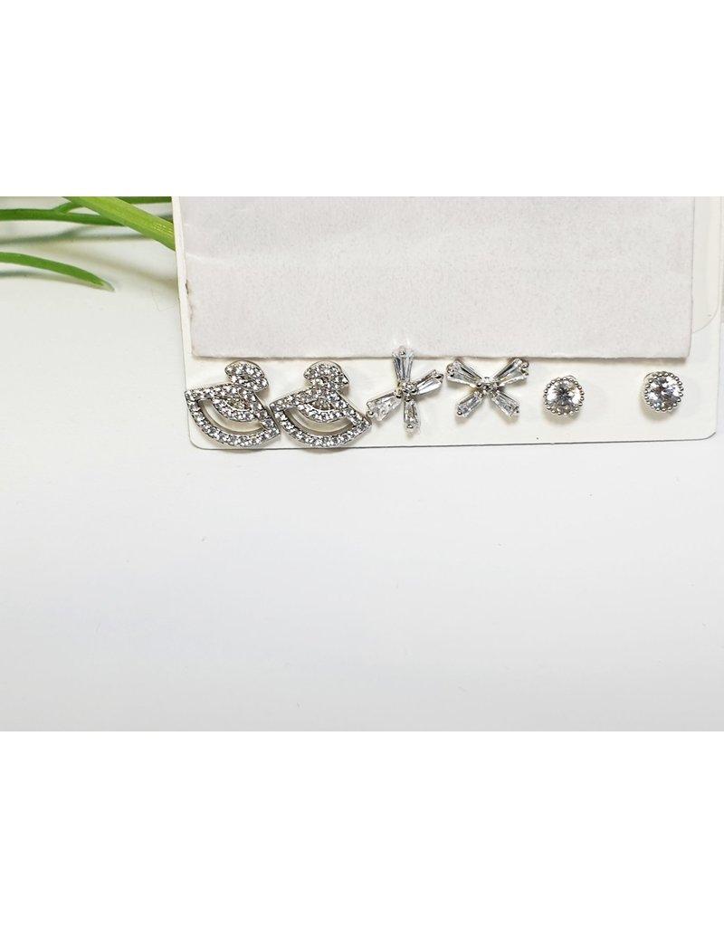 EMA0215 - Silver  Multi-Pack Earring
