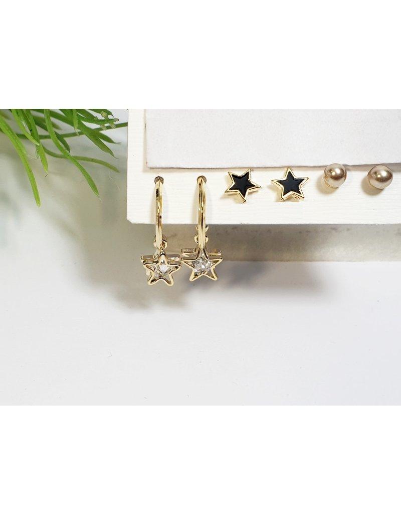 EMA0219 - Gold Black Star  Multi-Pack Earring