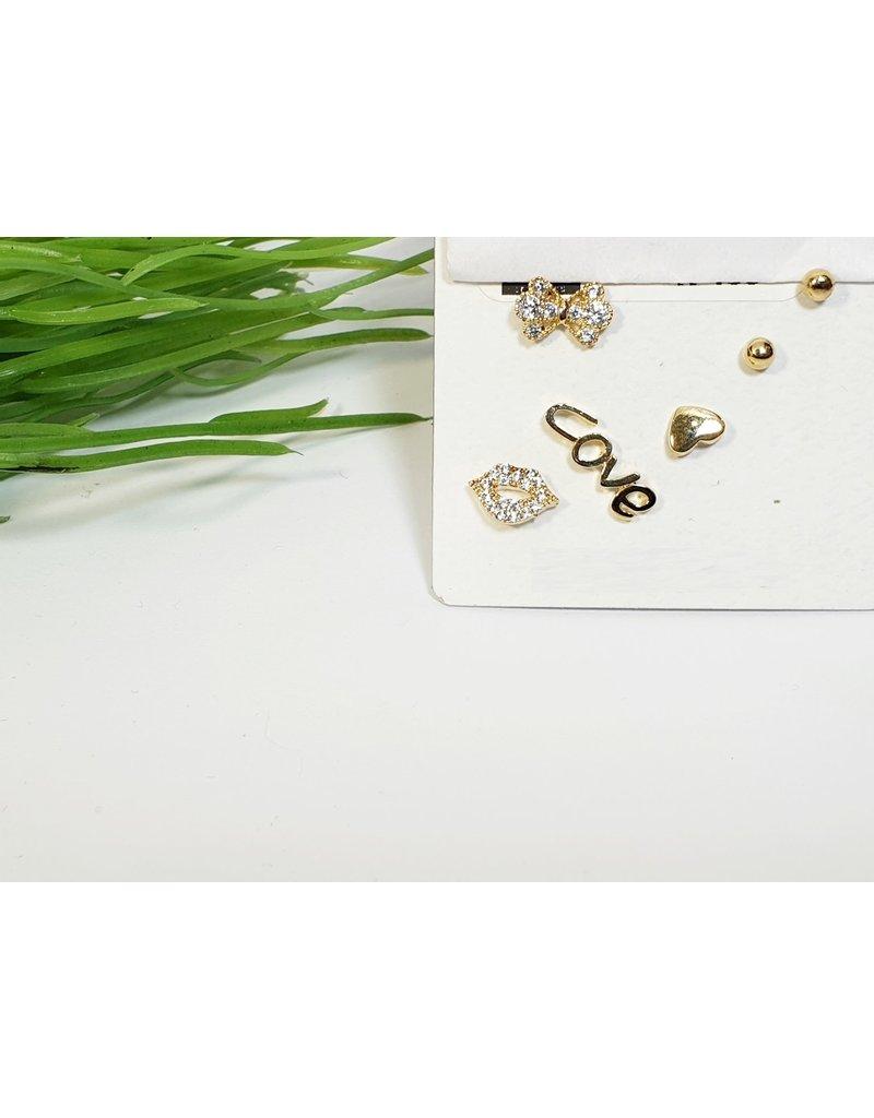 EMA0221 - Gold Love  Multi-Pack Earring