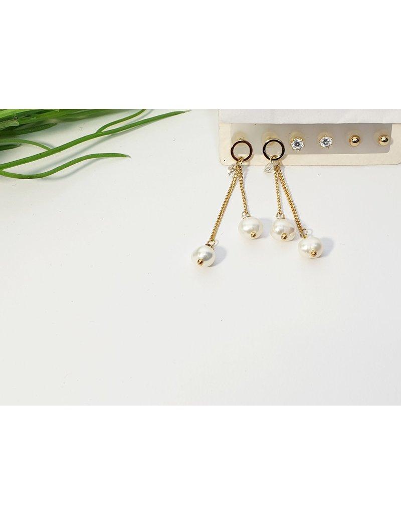 EMA0223 - Gold Pearl, Diamante  Multi-Pack Earring