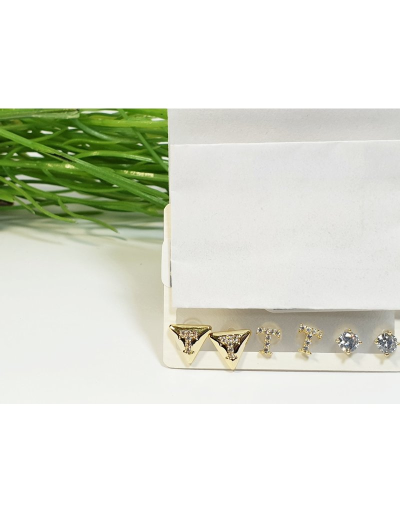 EMA0232 - Gold T/Triagles  Multi-Pack Earring