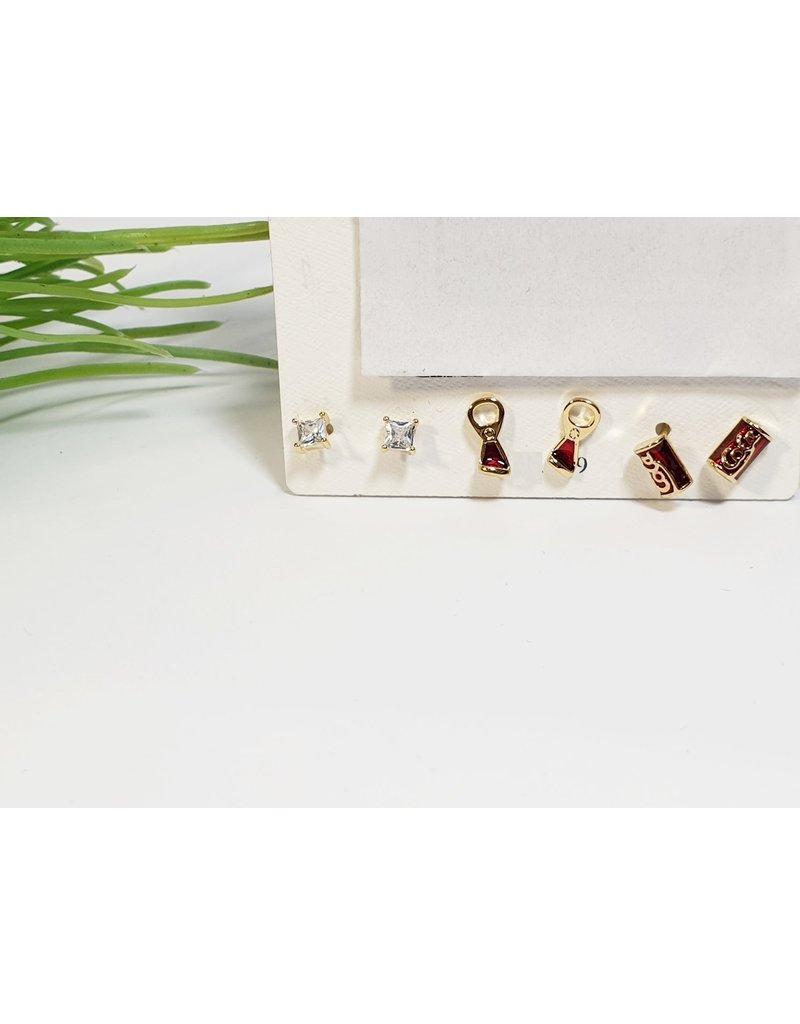EMA0239 - Gold Coke, Bottle Opener, Square Diamante  Multi-Pack Earring
