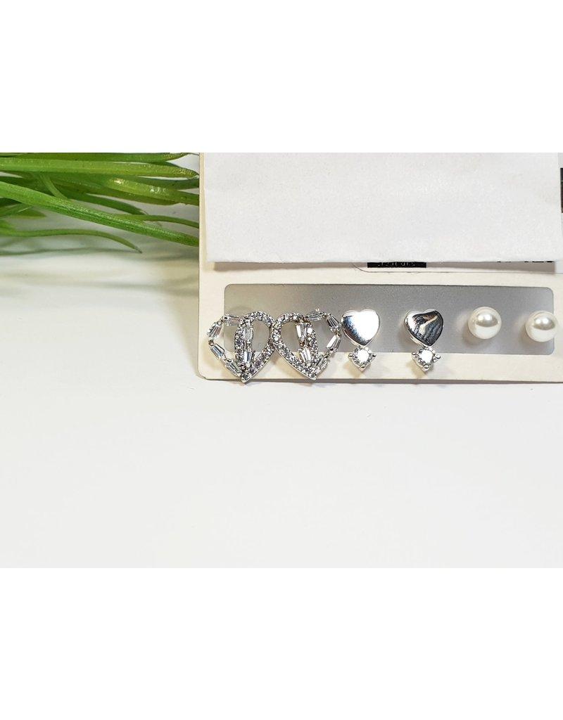 EMA0248 - Silver Pearl  Multi-Pack Earring
