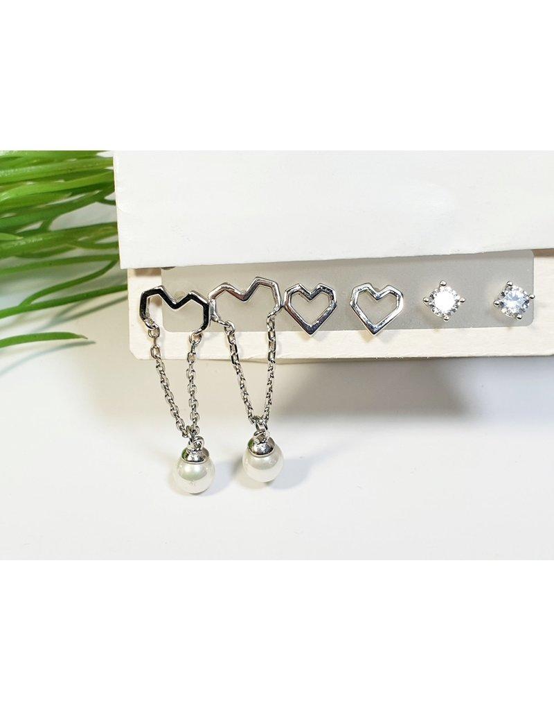 EMA0263 - Silver Heart  Multi-Pack Earring