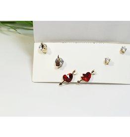EMA0273 - Gold Heart  Multi-Pack Earring