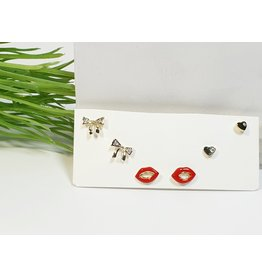 EMA0281 - Gold Lips, Bow  Multi-Pack Earring
