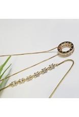 GSA0003-Gold, Circle Pendant Necklace with BAGUETTE CRYSTAL BRACELET