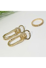 GSA0004-Gold, Drop Earring with DIAMOND SIMULANT RING