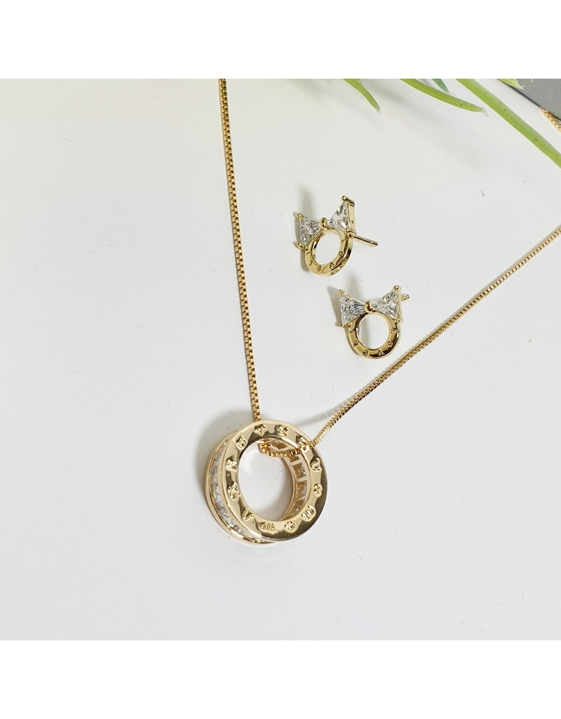 GSA0005-Gold, Circle Pendant Necklace with BOW EARRING