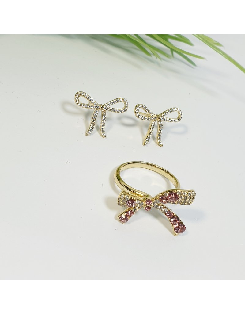 GSA0002-Gold, Bow earring with RING
