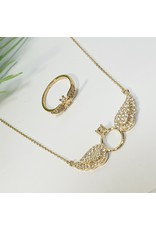 GSA0007-Angel Wing With Ring, Goldring with NECKLACE