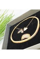 GSA0006-Gold, Multicolour Rainbow Necklacemulticolour Ring with RAINBOW BANGLE