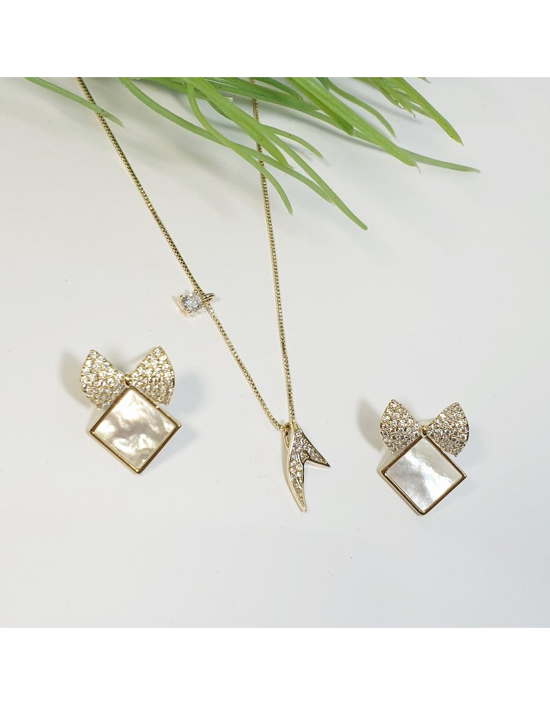 GSA0010-Gold, Bow Earring with MERMAIDS TAIL WITH DIAMANTE EARRING