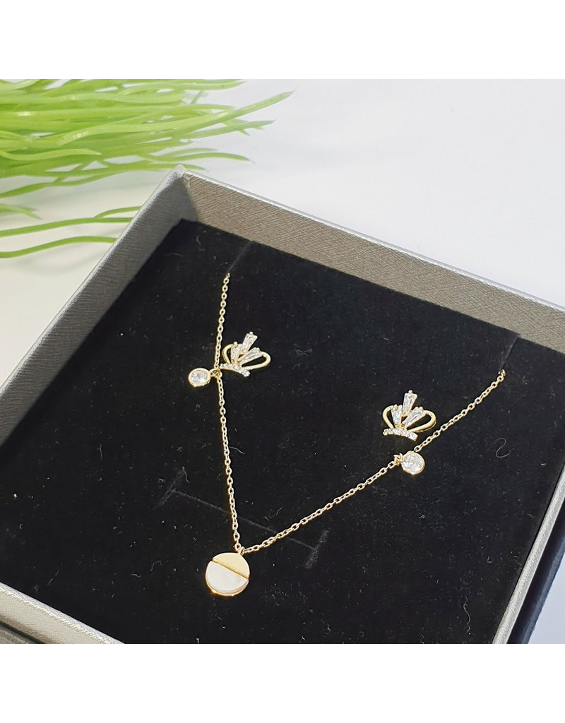 GSA0014-Gold, Crown Earring with SIMPLE DROP PENDANT NECKLACE