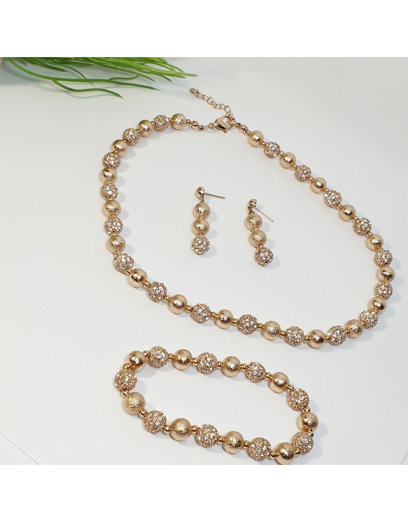 GSA0015-Rose Gold, Ball Bracelet Earring, Necklace And Bracelet Set with