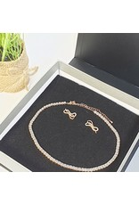 GSA0016-Rose Gold, Square Stone Choker with BOW EARRING