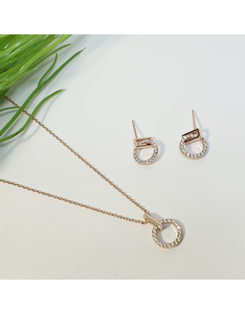 GSA0017-Rose Gold, Necklace And Earring Set with
