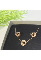 GSA0018-Rose Gold, Sterling Silver Double Circle with DOUBLE CIRCLE PINK EARRING