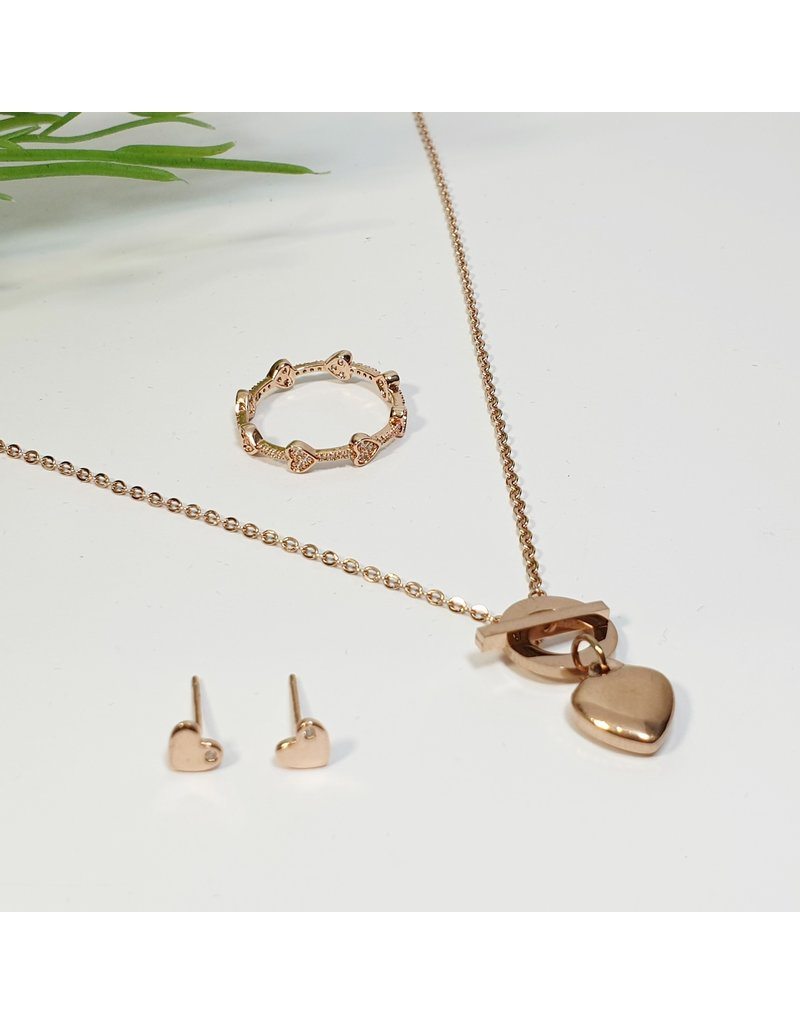 GSA0019-Rose Gold, Heart Earring with HEART RING