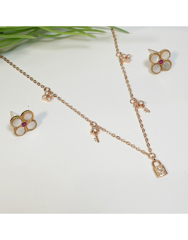 GSA0020-Rose Gold, Lock, Key Drop Necklace with