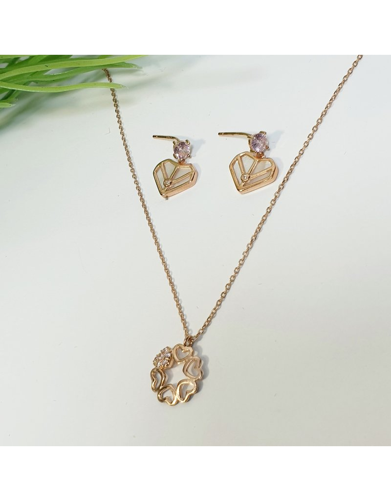GSA0022-Rose Gold, Sterling Silver Heart Necklace with HEART DROP EARRING