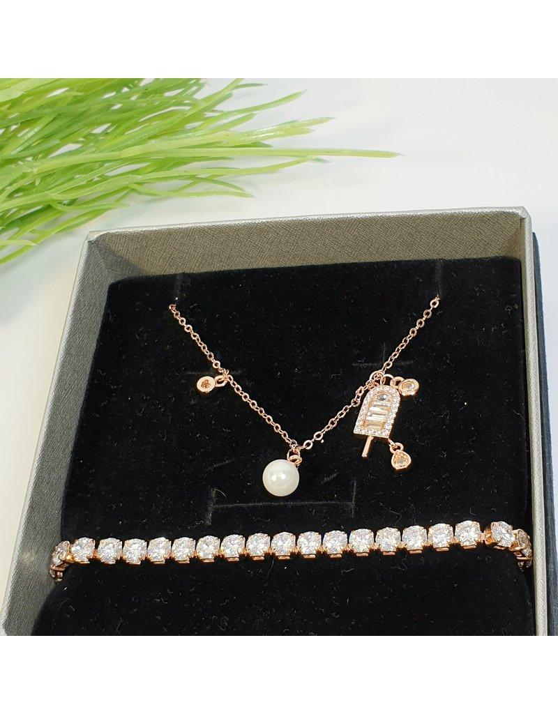 GSA0021-Rose Gold, Ice Cream Necklace with TENNIS BRACELET
