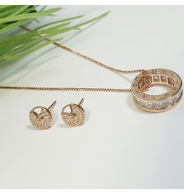 GSA0024-Rose Gold, Ring Pendant Necklace with EARRING