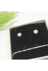 GSA0028-Pink Earring, Multicolour Adjustable Bracelet with