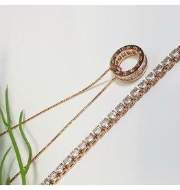 GSA0029-Rose Gold, Ring Pendant Necklace with TENNIS BRACELET