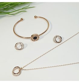 GSA0030-Rose Gold, Circle Necklace And Earring Set with CIRCLE CUFF BRACELET