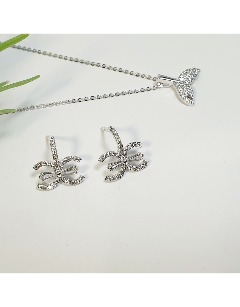 GSA0031-Silver, Diamante Earring with MERMAID TAIL NECKLACE