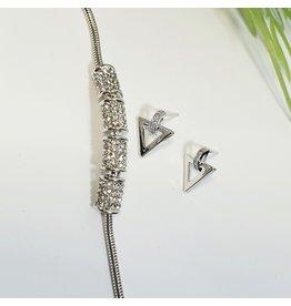 GSA0035-Silver, Triangle Earring with ADJUSTABLE DIAMANTE BRACELET