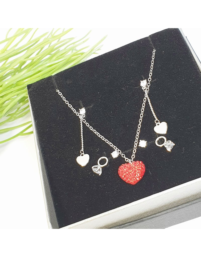 GSA0032-Silver, Heart Necklace with 3 PACK EARRING HEART DROP, RING AND STUD