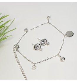 GSA0036-Silver, Drop Diamante Earring with DIAMANTE ANKLET