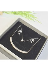GSA0037-Silver, Double Layer Necklace with DROP DIAMANTE EARRING